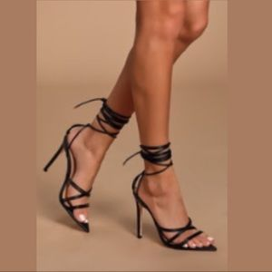 Black Pointy Toe Strappy Heels